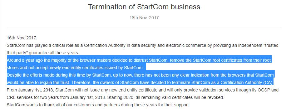 StartCom Termination