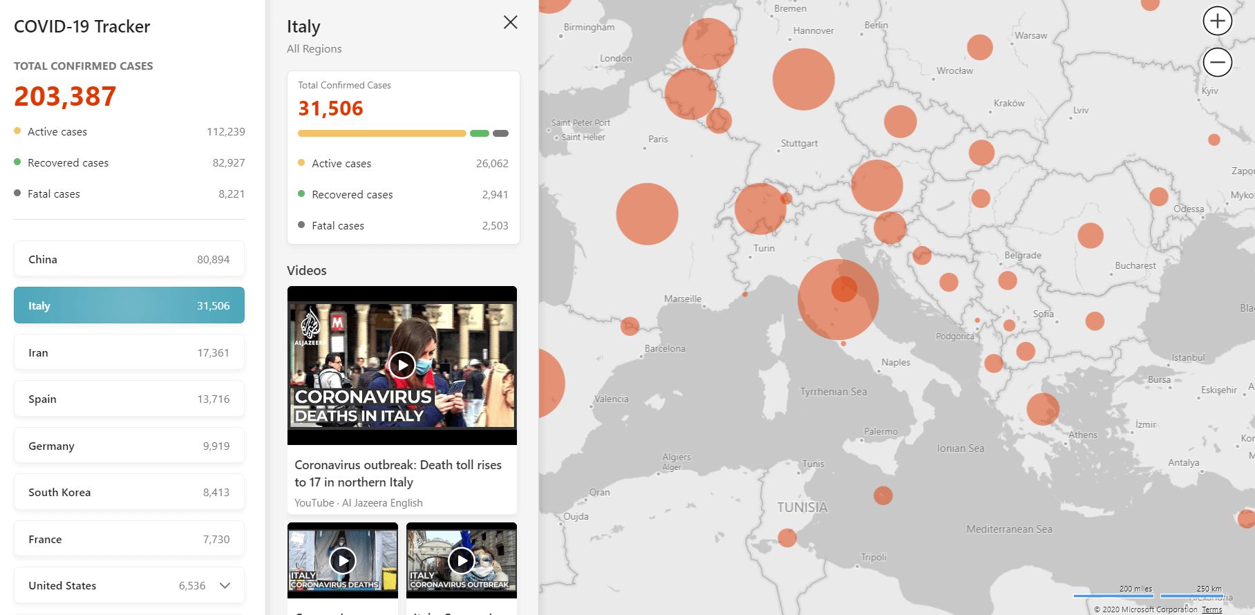 interactive COVID-19 tracker | Four Dots