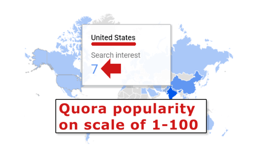 Quora popularity index in the US | Four Dots