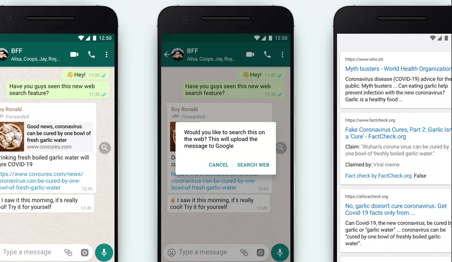 WhatsApp Introduces Search Feature to Fight Fake Viral Messages | Four Dots