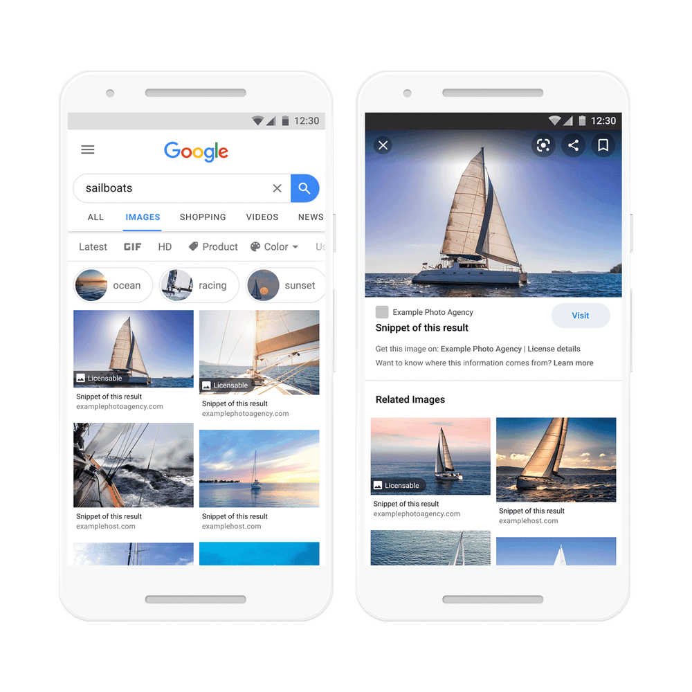 """Google Image Search Results Will Include """"Licensable"""" Badges   Four Dots"""