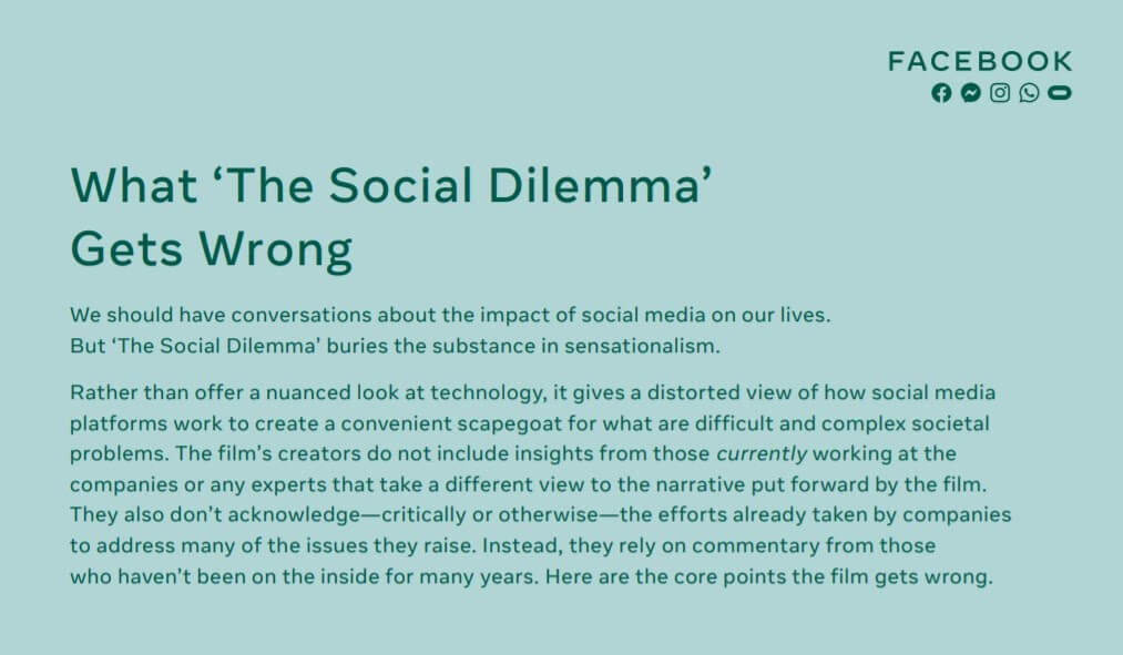 Netflix Documentary 'The Social Dilemma' Provokes Response from Facebook | Four Dots